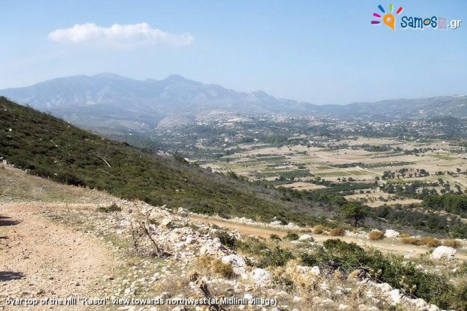 Το οχυρωματικό τείχος της αρχαίας πόλης της Σάμου, από την κορυφή του λόφου Καστρί προς τα βόριο-δυτικά πρός το χωριό Μυτιληνιοί,