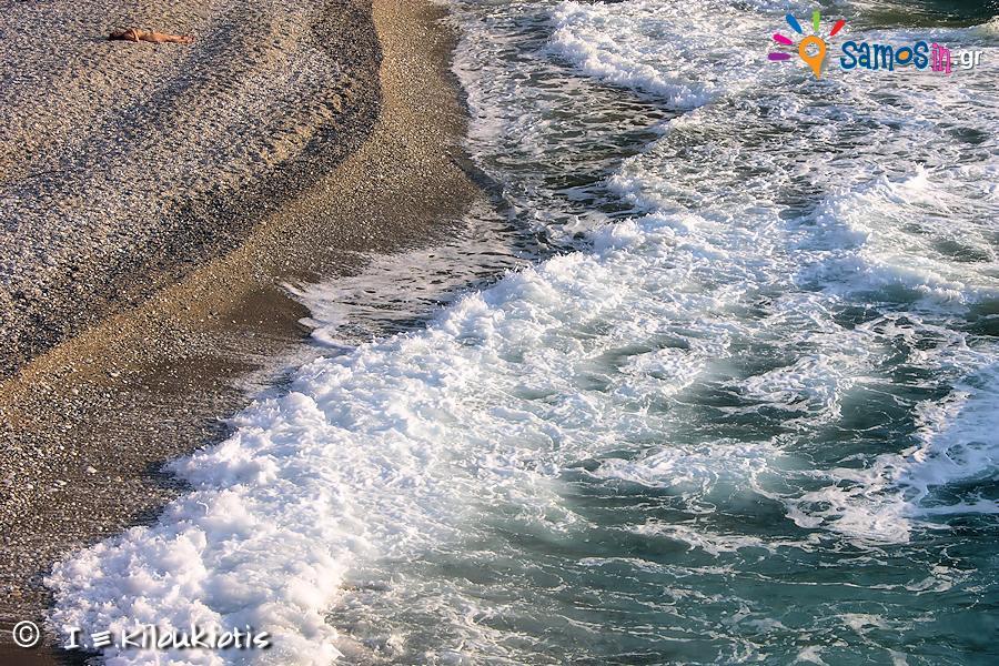 Mikro Seitani beach at north west site at Samos island